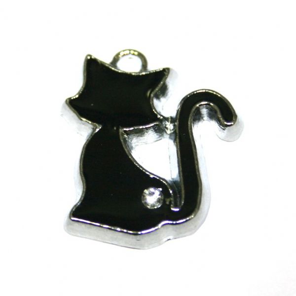 1 x 22*19mm rhodium plated black cat enamel charm with rhinestone - S.D03 - CHE1008